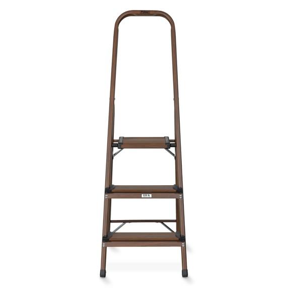 3-Step Wood & Aluminum Ladder, Dark Wood Grain