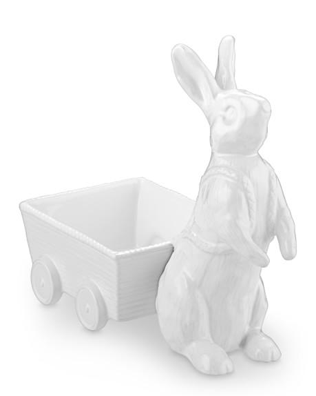 White Ceramic Bunny Wagon Candy Dish
