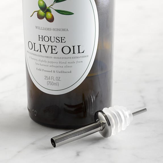 Stainless-Steel Oil Pourer with Clear Silicone Stopper