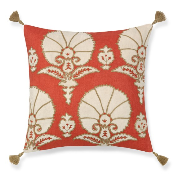 ottoman floral velvet applique pillow cover 20 x 20 coral williams sonoma. Black Bedroom Furniture Sets. Home Design Ideas