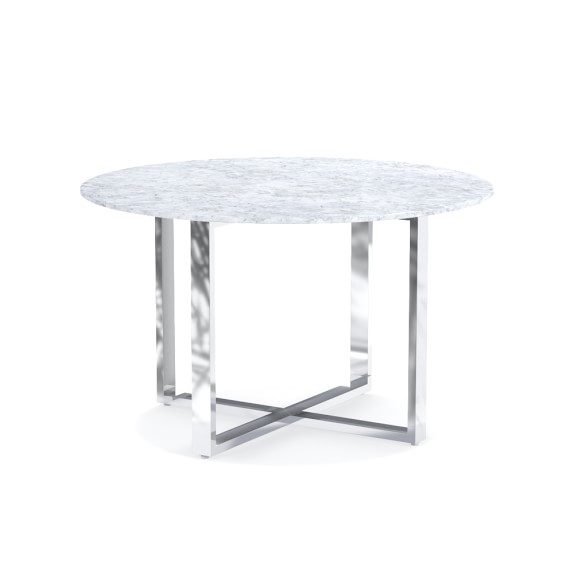 Mercer round dining table with carrera marble williams for Table carrera