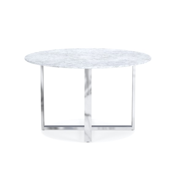 mercer round dining table with carrera marble williams