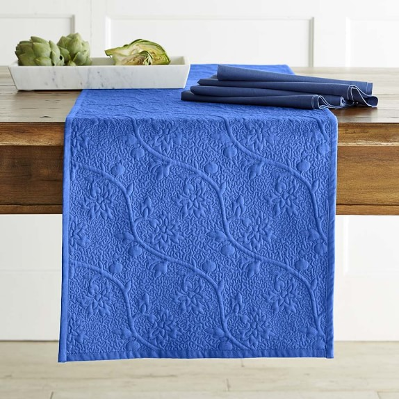 Vine Floral Boutis Table Runner, Bijou Blue