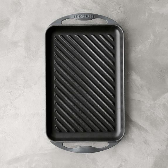 Le Creuset Cast-Iron Rectangular Skinny Grill, Anchor Grey