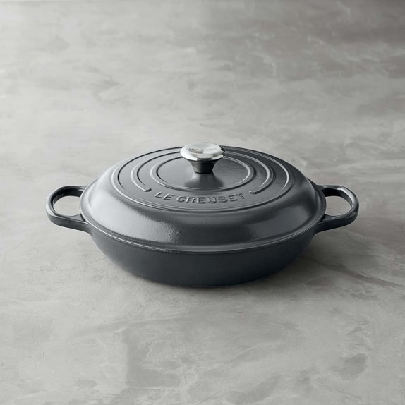 Le Creuset Signature Cast-Iron Braiser, Anchor Grey, 3 1/2-Qt.