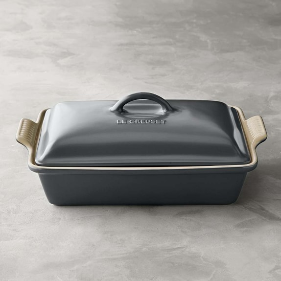 Le Creuset Heritage Stoneware Rectangular Covered Casserole, Anchor Grey