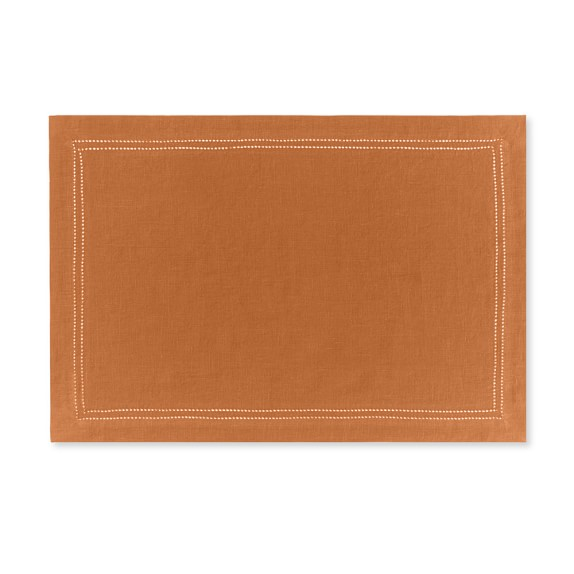 FA16 Linen Double Hemstitch Place Mats Set of 4, Pumpkin
