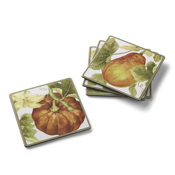 Botanical Pumpkin Coasters, Set of 4
