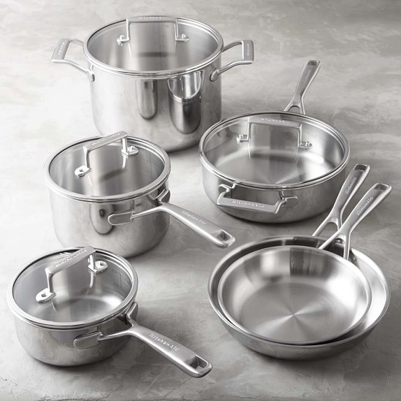 Kitchenaid tri ply stainless steel 10 piece cookware set williams sonoma - Kitchen aid pan set ...