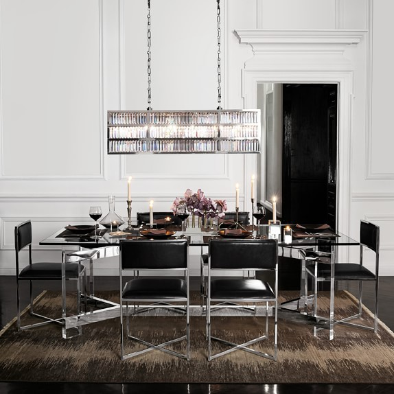 William Sonoma Home Lighting: Lamont Linear Crystal Chandelier, Polished Nickel