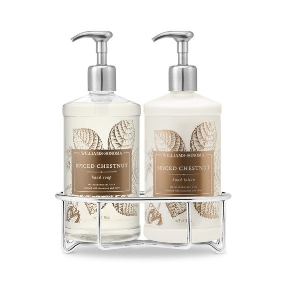 Williams-Sonoma Essential Oils Deluxe Hand Soap & Lotion Gift Set with Wire Caddy, Spiced Chestnut