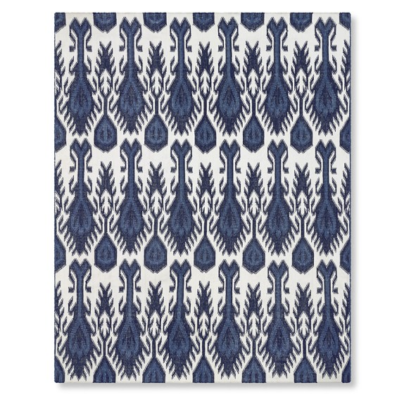 Multi Color Ikat Indoor Outdoor Rug Navy Williams Sonoma