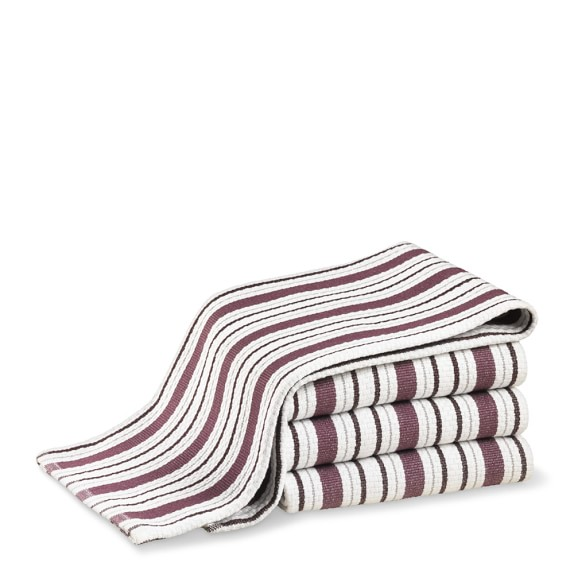 Williams Sonoma Contrast Stripe Towels, Set of 4, Grape Vine