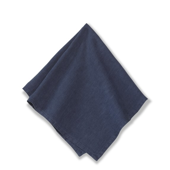 Italian Washed Linen Napkins, Set of 4, Navy