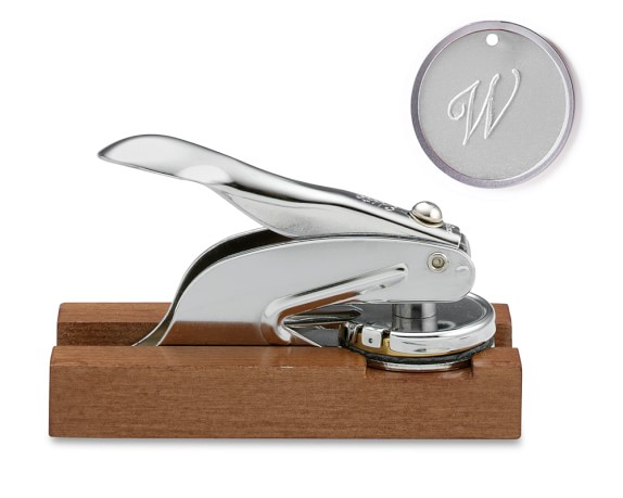 Personal Embosser with Stand, Single-Initial