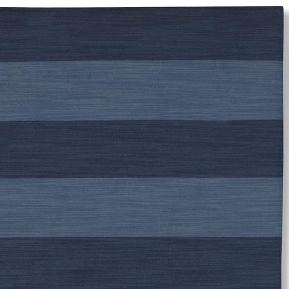 Wide Stripe Dhurrie Rug Swatch, Evening Blue/Dark Blue
