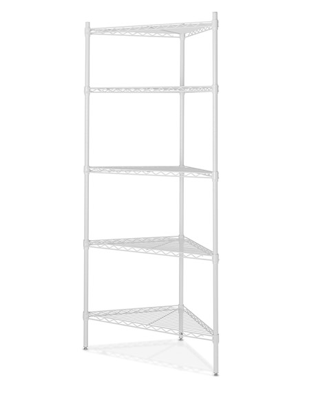 Wire 5-Shelf Corner Unit, White
