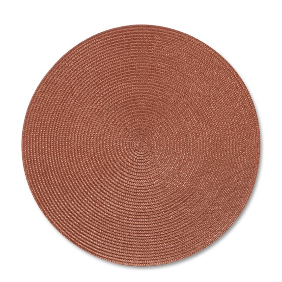 Round Woven Place Mats, Set of 2, Pumpkin