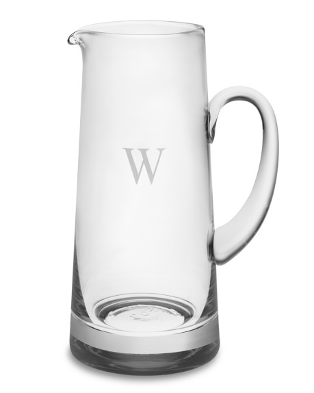 Monogrammed Glass Pitcher, Single-Initial
