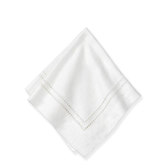 Linen Double Hemstitch Cocktail Napkins, Set of 4, White