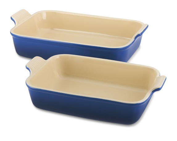 Le Creuset Heritage Stoneware Rectangular Bakers, Set of 2, Lapis