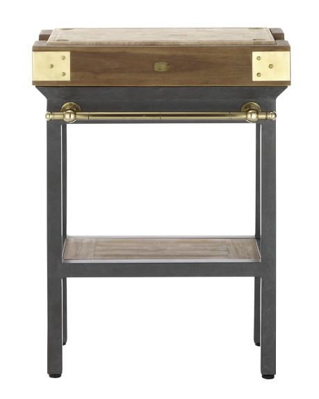 French Chef's Kitchen Island, Single with Shelf, Gunmetal