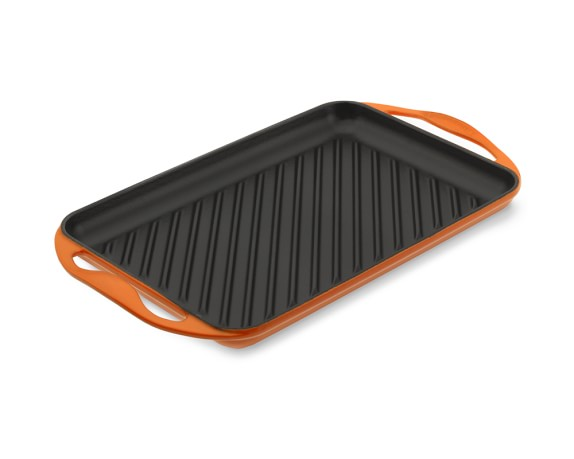 Le Creuset Cast-Iron Rectangular Skinny Grill, Flame