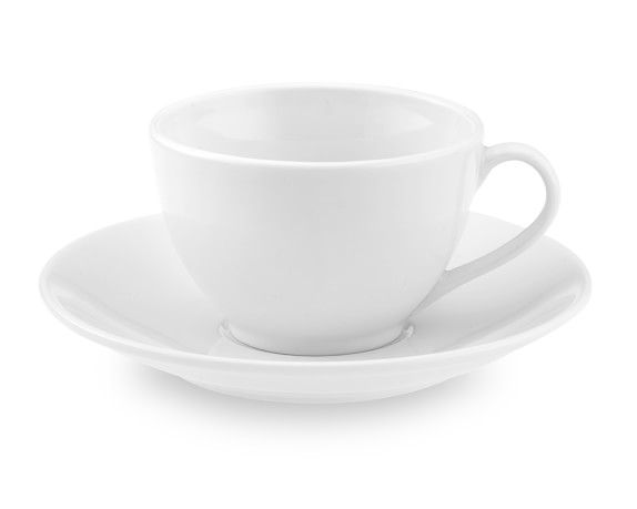 Apilco Tradition Porcelain Cups & Saucers, Set of 4