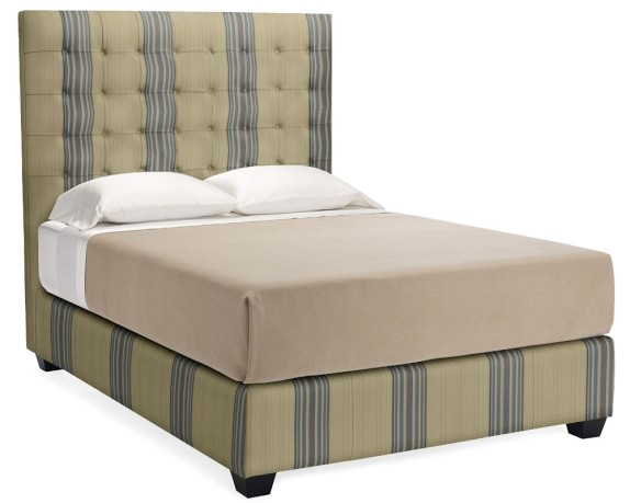 Fairfax Tall Bed, Queen, Cotton/Rayon, Rustic Stripe, Yacht