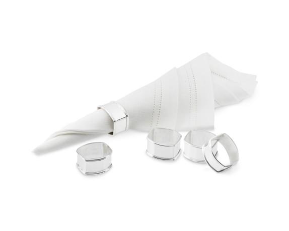 Presidio Silver Plated Napkin Rings, Set of 4