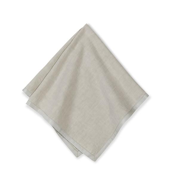 Silk Applique Border Napkins, Set of 4, Flax