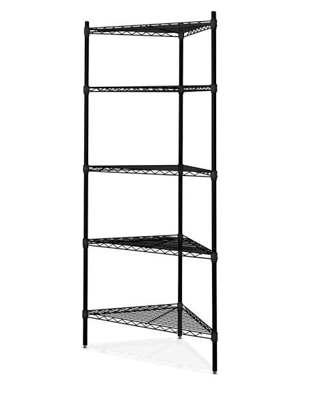 Wire 5-Shelf Corner Unit, Black