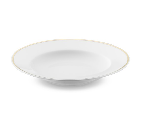 Apilco Gold Rimmed Soup Plates, Set of 4