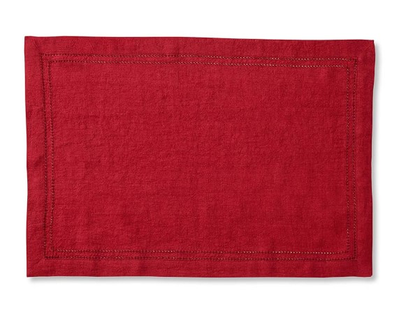 Linen Double Hemstitch Place Mats, Set of 4, Red