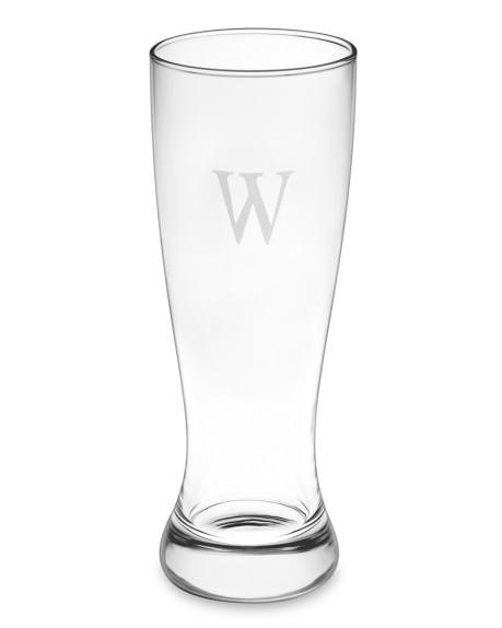 Monogrammed Pilsner Glasses, Single-Initial, Set of 4