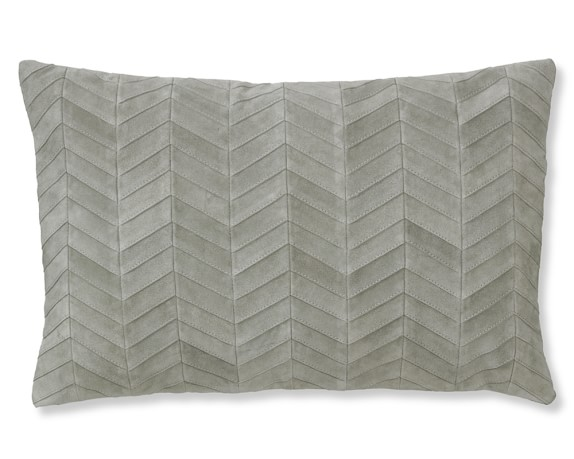 Herringbone Suede Pillow Cover with Linen Backing, 14