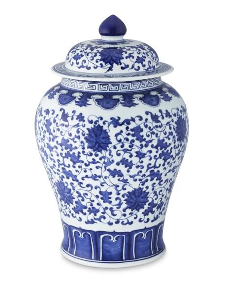 Blue & White Ginger Jar Lidded Urn, 16