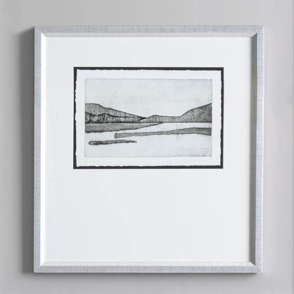 Charcoal Landscape Lake Sketch