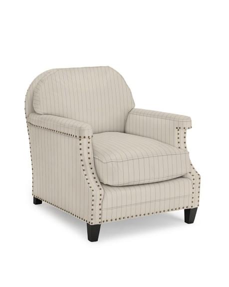 Randall Club Chair, French Stripe, Admiral