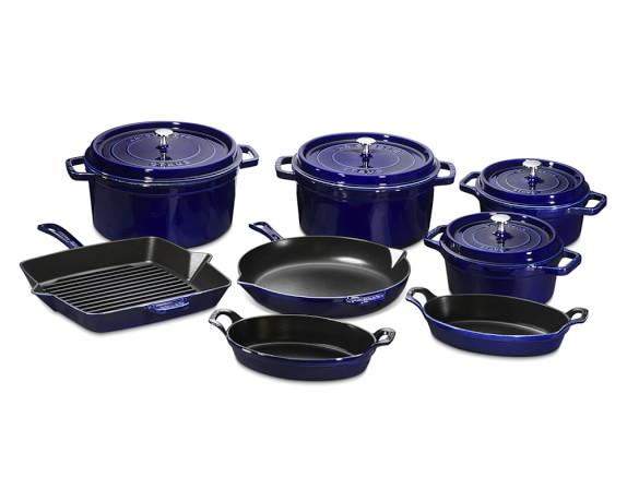 Staub Cast-Iron 12-Piece Cookware Set, Sapphire Blue