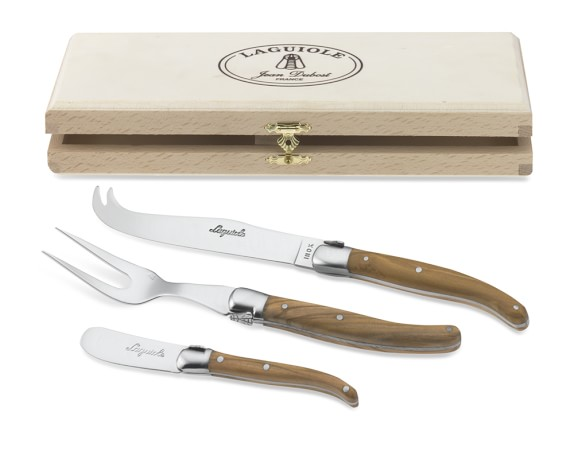 Laguiole Jean Dubost Olive Wood Cheese Knives, Set of 3