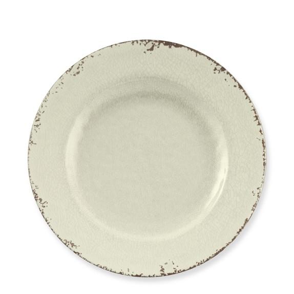 Rustic Melamine Salad Plates, Set of 4, White