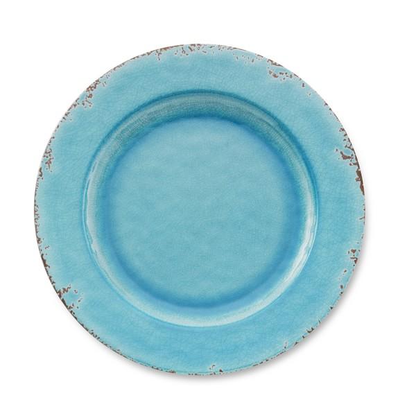 Rustic Melamine Dinner Plates, Set of 4, Turquoise