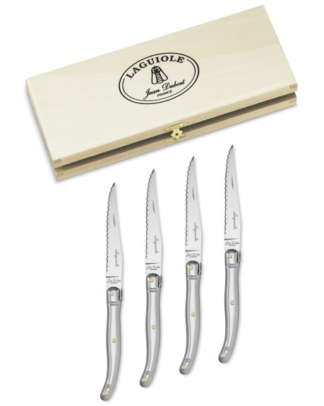 Laguiole Jean Dubost Steak Knife Set, Stainless-Steel with Brass Rivots