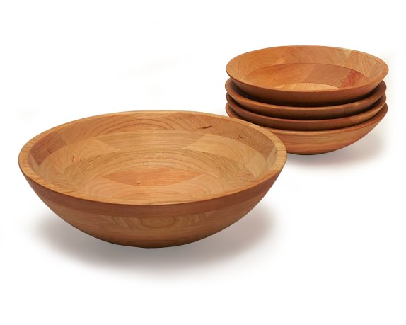 "Cherry Wood 12"" Bowl & Set of 4 Individual Bowls"