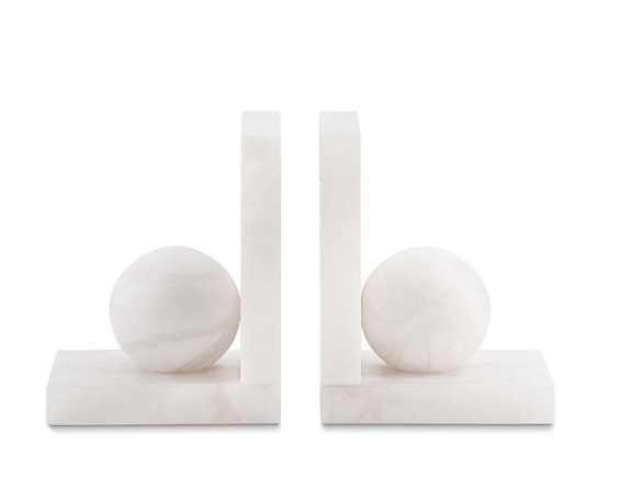 Alabaster Bookends, White