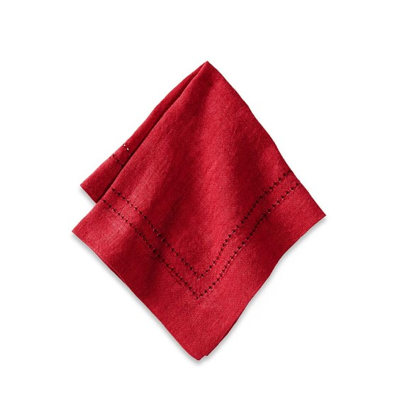 Linen Double Hemstitch Cocktail Napkins, Set of 4, Red