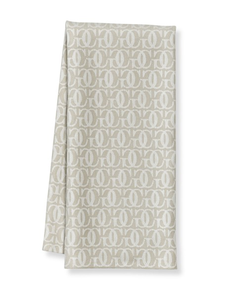 Williams-Sonoma Monogram Jacquard Towels, Set of 2, Bright White/Flax