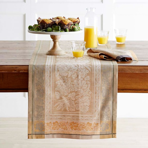 Wine Country Harvest Jacquard Table Runner, Wheat