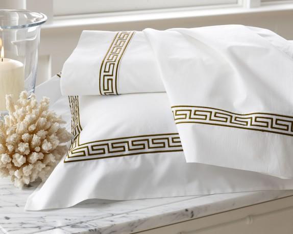 Classic Greek-Key Bedding, Sham, Each, Euro, Espresso